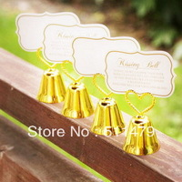 NEW ARRIVAL+Charming Gold Plated Bell Place Card Holder Golden Wedding Favors+100pcs/lot+FREE SHIPPING