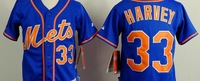 Free shipping-New York Mets #33 Harvey kids white/black jersey,Mets jerseys