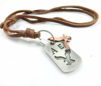 Free shipping!Punk Style genuine leather necklace metal DOVE HCO anchor pendants vintage cowhide necklaces mens leather jewelry