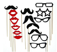 Special Offer!Free Shipping 15pcs/lot NEW Design Paper Mustache, lips,glasses Photo booth props on a stick
