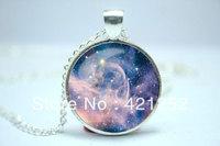 10pcs/lot Galaxy Necklace, Hipster Nebula Jewelry, Geometric Star Pendant Glass Cabochon Necklace