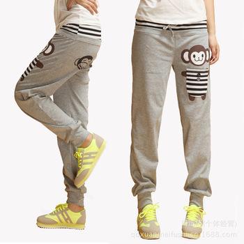 2014 Spring Women's Cartoon Monkey Sports Pants Loose Casual Pants Cotton Harem ...