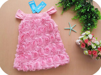 Free shipping Retail Latest Design Pink Roses Girls Dress Strap Dress Girls Sleeveless Dress Princess Dress in Stock