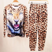 Hot-selling sweatshirt set personalized 3d leopard print plus size basic shirt legging  free shipping