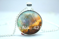 10pcs/lot Galaxy Triangle Necklace, Hipster Nebula Jewelry, Geometric Star Pendant  Glass Cabochon  2Necklace