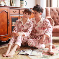 New arrival 2013 noble plaid long-sleeve lovers sleepwear fashion cotton casual male elegant lounge