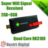 Quad Cord RK3188 Google TV Box MK809 IV Android 4.2.2 Mini PC 2GB+8GB Smart Android TV Box, Smart, HDMI TV Player, Super Wifi