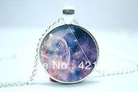 10pcs/lot Galaxy Triangle Necklace, Hipster Nebula Jewelry, Geometric Star Pendant Glass Cabochon  Necklace 3