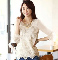 New 2013 autumn women's chiffon long-sleeve shirt White color slim lace Embroidery shirt basic Top blouses Free shipping