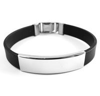 2014 New Year Gift Unisex Punk Party Stainless Steel and Black PU Silicone Bracelets Bangle