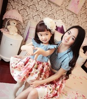 Hot! Family Pack Family fitted mother and girl dress,chiffon+denim stitching short-sleeved princess dress,mom and daughter