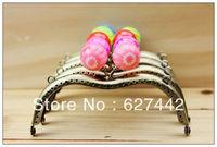 11.5CM purse frame, colorful kiss lock, Flower Candy Bead Metal Purse Frame,Wallet M Frame,5 Colors Cute Coin Purse Frames