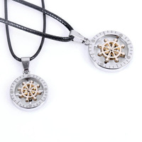 Personality lovers necklace rotation titanium pendant compass