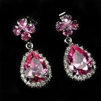 Fashion Jewelry  pink Earrings 18KT white gold filled Earrings for women crystal drop earrings free shipping