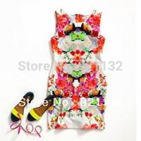 910 Free Shipping European Fashion Style Sleeveless Retro Fashion Floral Print Bodycon Slim Party Dress
