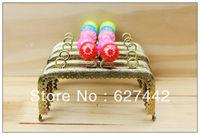 12.5CM purse frame, colorful kiss lock, Flower Candy Bead Metal Purse Frame,Wallet  Square Frame,5 Colors Cute Coin Purse Frames