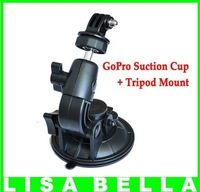 GoPro Car Suction Cup Mount with Tripod Mount for GoPro HD Hero,Hero2,Hero3, AEE Outdoor Cameras Intersurface 1/4, Free Shipping