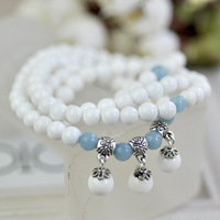 Natural white tridacna beads bracelet 108 aquamarine