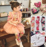 2014 New  Children's Girls Flower printed  Leggings , Winter girls' leggings, Wool dress leggings 3colors  Free shipping