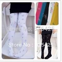 Newest Style Spring Autumn Children Pants,5-9 Years Floral Girl Leggings,Velvet Cute Kids Legging Pantyhose Multicolor