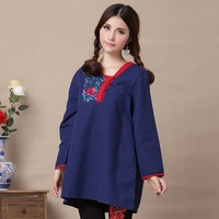 National 2013 trend autumn and winter linen exquisite embroidered long-sleeve outerwear plus size clothing one-piece dress