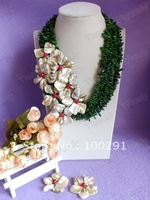 Amazing Fashion Green branch with shell flower coral necklace bracelet earrings African Wending stone jewelry set