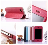 New View Window Slim PU Leather Flip Smart Style Stand Cover Case For iPhone 4G 4S+ Button Stickers 80pc=50pc leathe+30pc screen