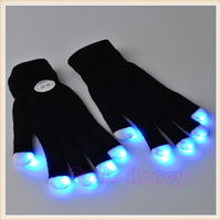 2pcs Party LED Gloves Rave Light Flashing Finger Lighting Glow Mittens Magic Black Gloves Party Accessory