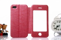 50pcs DHL Genuine flip Leather Case for iphone 4/4s/4G phone cover Stand Wallet with Touch-Screen Holster View Window, Wholesale