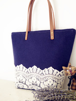 High quality navy blue cashmere woolen cloth fashion shoulder bag