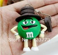 New cartoon green M&M man model usb stick flash pen deive gift 4-32GB free shipping (with no chain)