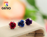 GN E441 18K Gold Plated high quality cute flower crystal earrings Made with Genuine SWA ELEMENTS Austria Crystals!free shipping