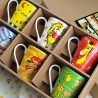 Kidcups Bone China Ceramic Mugs for Childern Cartoon Animal Patterned Kid's Mugs Gift Box Packing Assorted Patterns Coffee Cups