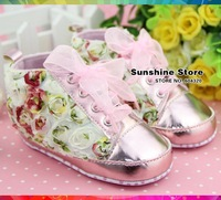 Sunshine store #2B2059 3 pair/lot(pink green )BABY girls shoes shabby flower!antiskid prewalker rosset bow autumn Christmas CPAM