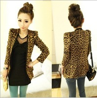 Freeshiping,2013 Vintage Autumn Women Plus Large Leopard Jacket Slim Fit One Button Blazer With Shoulder Pad Suede Outwear S-L