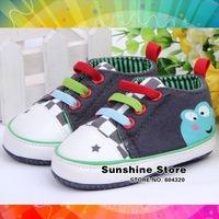Gray girl baby frog shoe star rainbow zapatos de bebe grises;print antiskid prewalker autumn colorful #2B2065 3 pair/lot(gray)