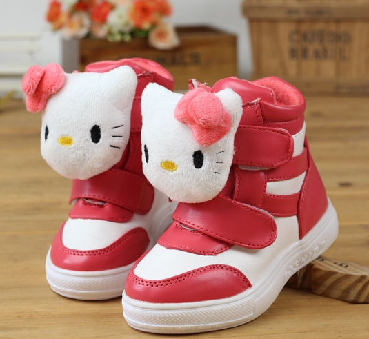 Girls Sneakers 2013 New Winter Spring Fashion Children Shoes For Kids Girl Hello Kitty PU Velcro Carton Brand Child Boots(China (Mainland))