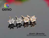 GN E446 18K Gold Plated high quality Six claw cute zircon earrings Made with Genuine SWA ELEMENTS Austria Crystals!free shipping