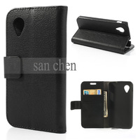 Black Magnetic Litchi Texture Wallet Leather Case for LG Google Nexus 5 E980 D820 + Film  FreeShipping
