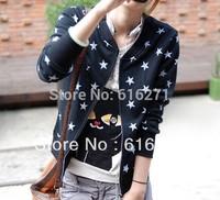 New 2014 Spring summer small stars coat female han edition student leisure fleece cardigan star quality Free shipping C180