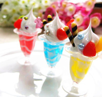 Artificial   ice cream long cup sundae Simulation Food Decorator Phone Bag Straps Small  Pendant  Free Shipping Wholesale
