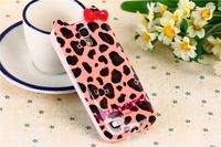 Hello Kitty Leopard Pattern bowknot KT Cat small fresh Saika cell phone case for samsung galaxy S4 mini i9190 i9195 i9192 i9198