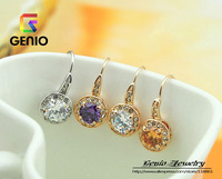 GN E448 18K Gold Plated high quality cute crystal earrings Made with Genuine SWA ELEMENTS Austria Crystals! free shipping