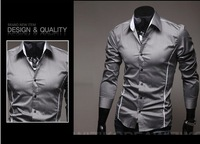 Fashion Slim Lang sleeve Men's shirts , striped casual shirts POLO M,L,XL,XXL. free shipping