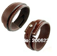 Leather Wrap Bracelet,Fashion Brown Leather Bracelet With White Stitching,Surfer Leather Cuff Bracelet Bangle