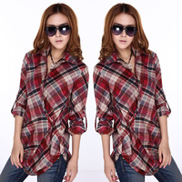 free shipping Autumn girl plus size clothing long cotton paragraph thin all-match long-sleeve plaid shirt top