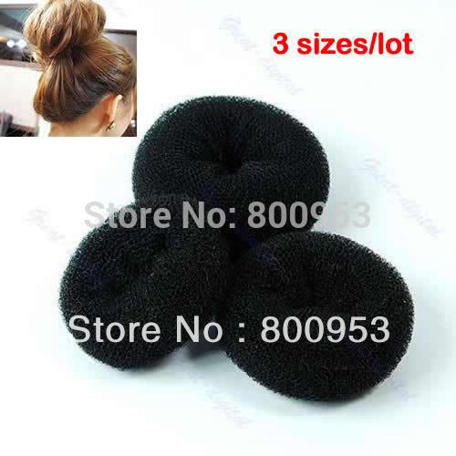 36pcs/set +New Soft Black Bun Sponge Donut Shape Lady Hair Styling Tool Magic Hair Hair bun Sponge Bun S M L Three sizes track(China (Mainland))