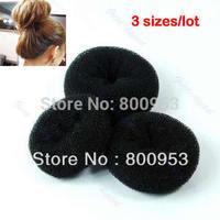 3pcs/set +New Soft Black Bun Sponge Donut Shape Lady Hair Styling Tool Magic Hair Hair bun Sponge Bun S M L Three sizes