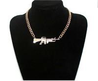Celebrity Rihanna Jewelry Shiney The Gun Pendant Necklaces Chain Necklace Hip Hop Items Wholesale