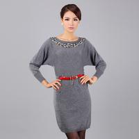 2013 winter new arrival women's beading paillette belt batwing sleeve wool cashmere sweater quality design long sweater dress
